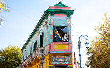 Colorful building in La Boca neighborhood.